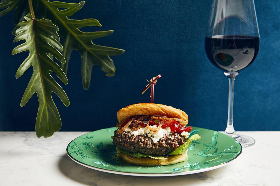 Kimpton Peacock Room burger and wine